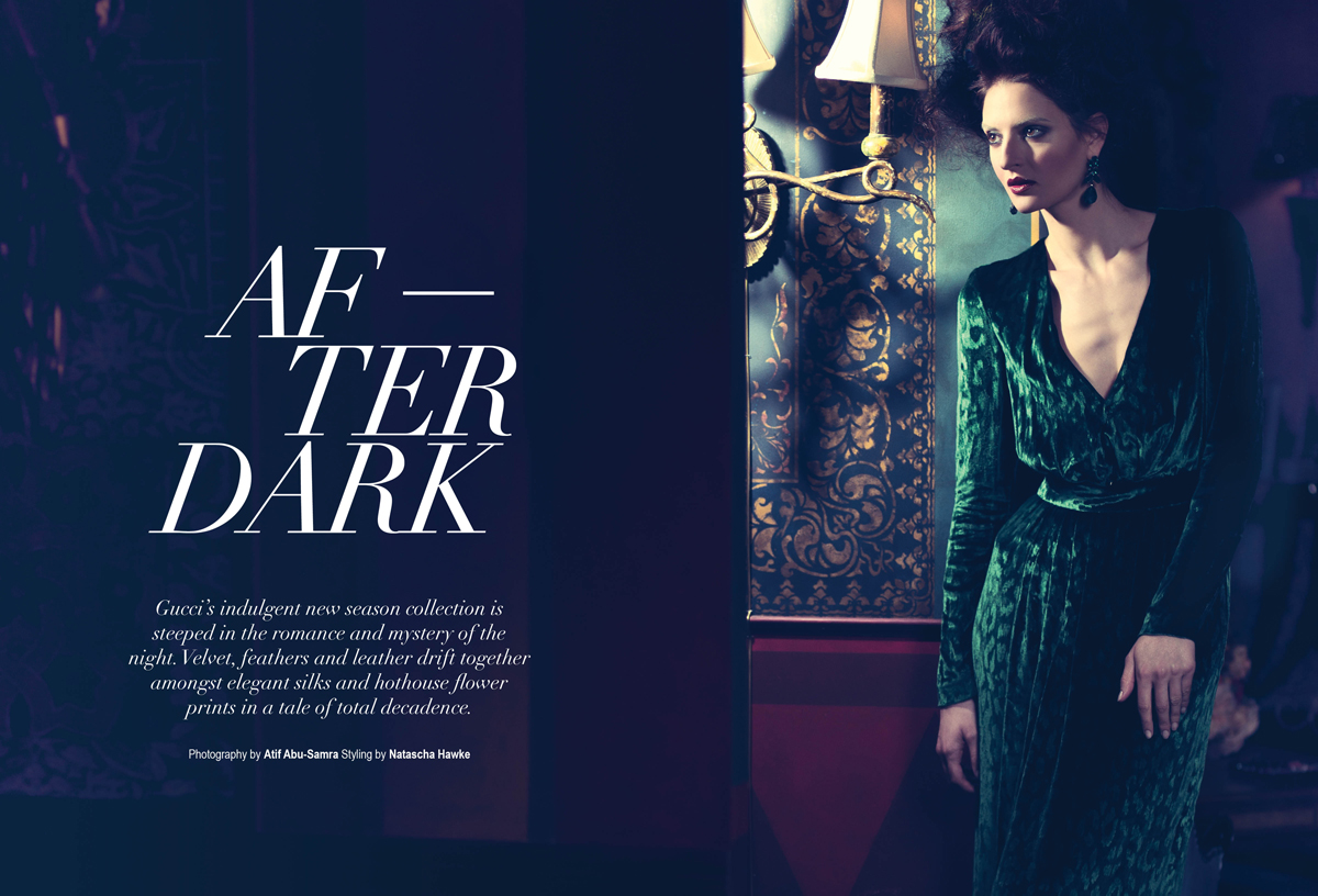 Milica Radmilovic Militza in After Dark, Gucci WF2012, Velvet Magazine.