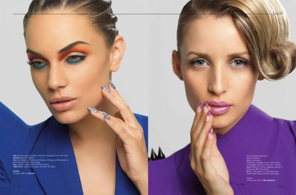 Michelle and Gemma in MAC Cosmetics Nail Art Editorial for Zeina Magazine. Photographed by Atif AbuSamra.