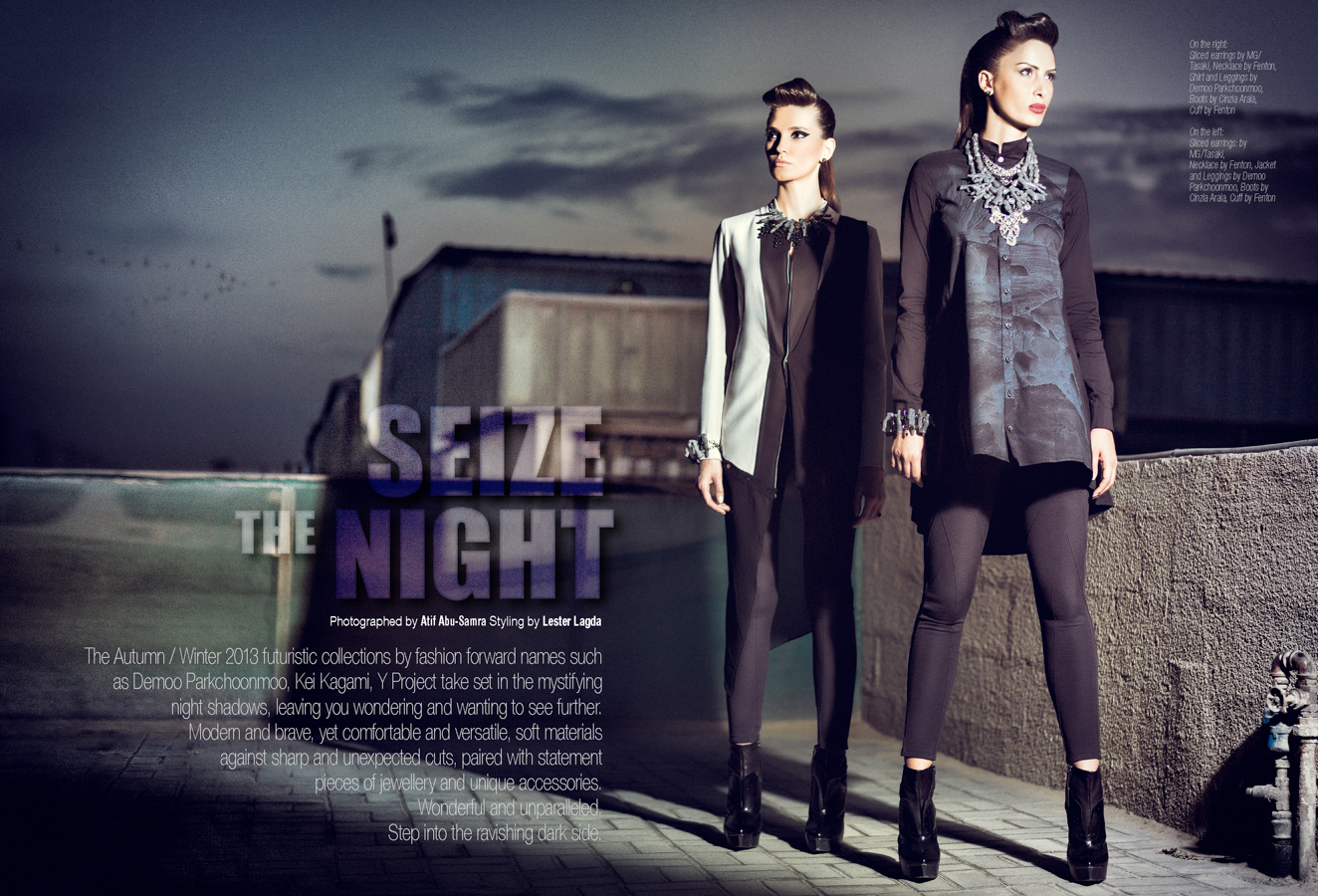 Fashion Photography: Seize the Night by Atif AbuSamra for The Style Chamber. Fashion Campaign. Styled by Lester Lagda. Make up by Sophie Leach. Hair styling by Mike Toro.