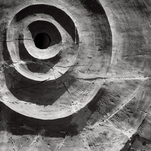 Black and white photograph of concentric circles. BELEF, 2013, Belgrade, Serbia.