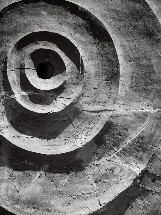 Infinity: Black and white photograph of concentric circles. BELEF, 2013, Belgrade, Serbia.