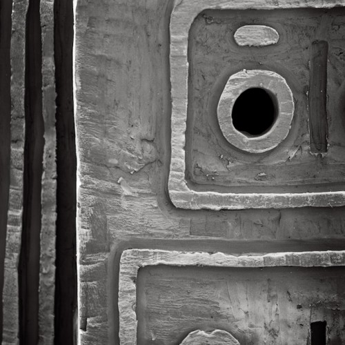 B & W photograph of a detail from an art exhibition in Belgrade, Serbia, during BELEF festival, 2013.