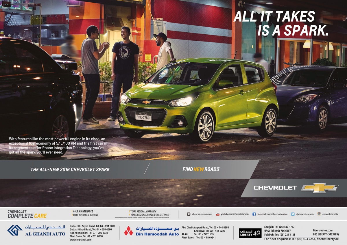 "Car Photography (Automotive) Advertising campaign ""All it takes is a Spark"". Outdoor / OOH Print. Photographed by Atif Abu-Samra, Dubai, UAE."