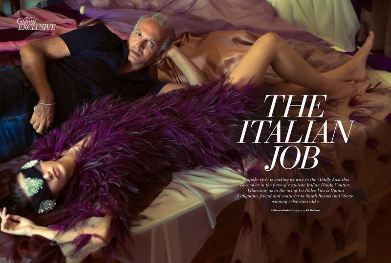 Photo portrait of Gianni Calignano with Italian model Valeria Gaggiano.