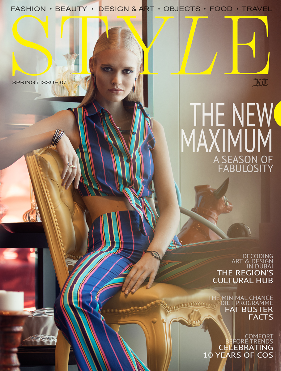Cover page for a Style Magazine, featuring a fashion editorial by Atif Abu-Samra. Photographed in Dubai, United Arab Emirates (UAE).