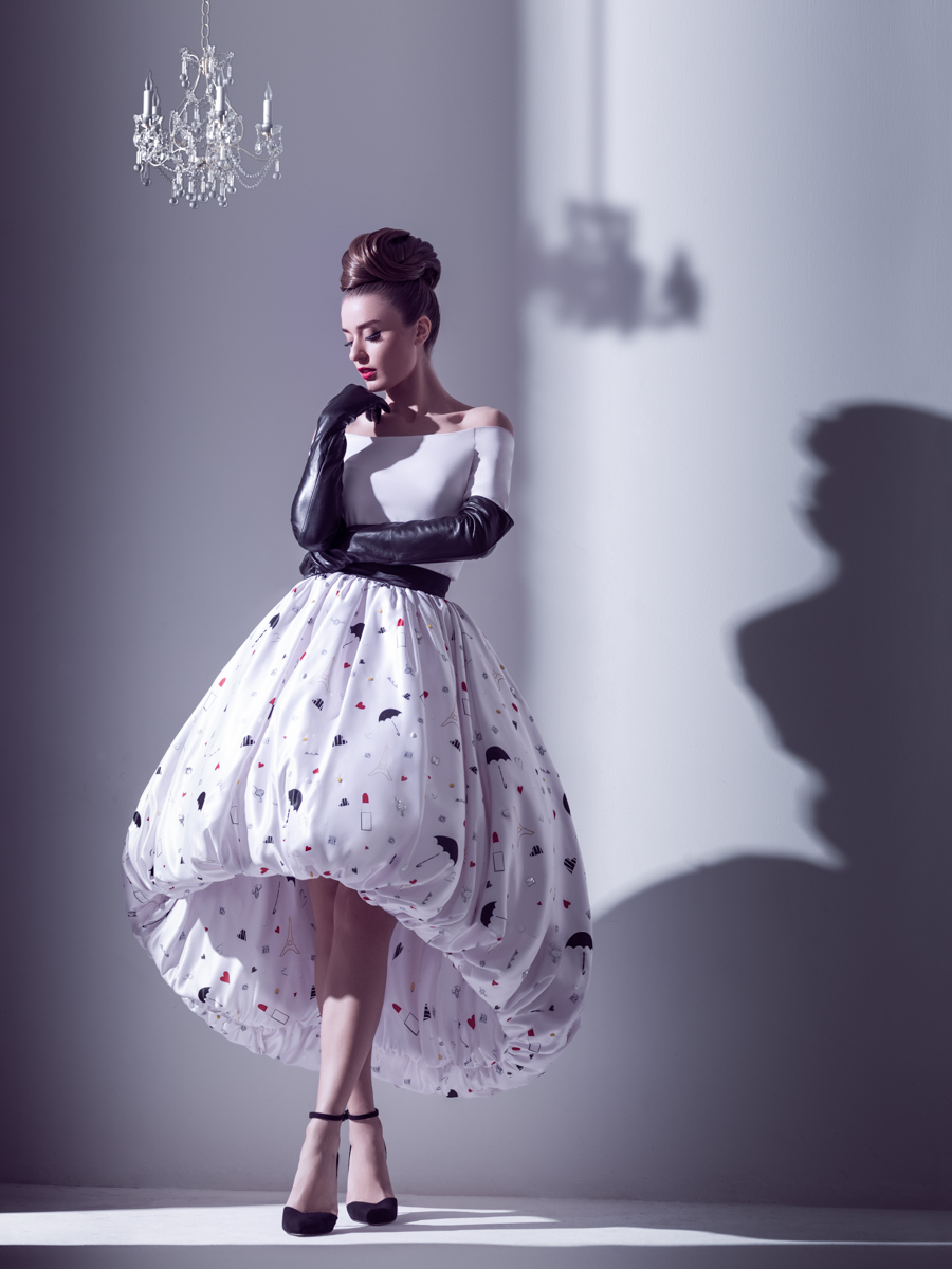 Fashion Collection by Illustrella. Spring 2014 Collection. Fashionable puffy umbrella dress.