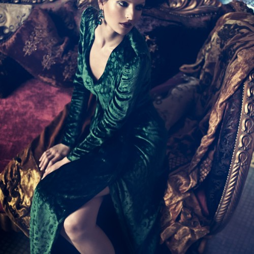 Dubai fashion photographer Atif AbuSamra shoots a Velvet Magazine editorial for Gucci. The photograph shows the model in Gucci's green dress.