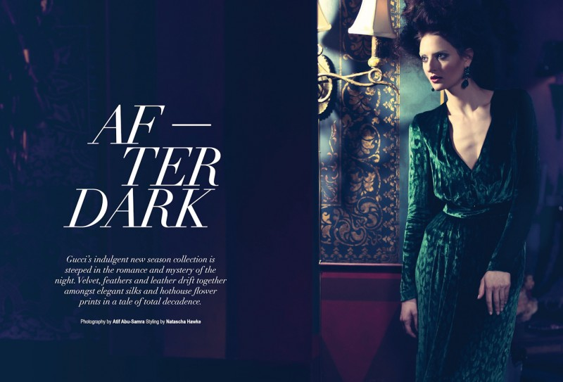 Double page spread (DPS) fashion magazine editorial. Photographed by Atif AbuSamra for After Dark Gucci editorial for Velvet Magazine.